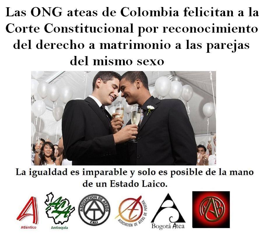 Ateos y Agnósticos de Colombia aplauden fallo de Matrimonio Igualitario